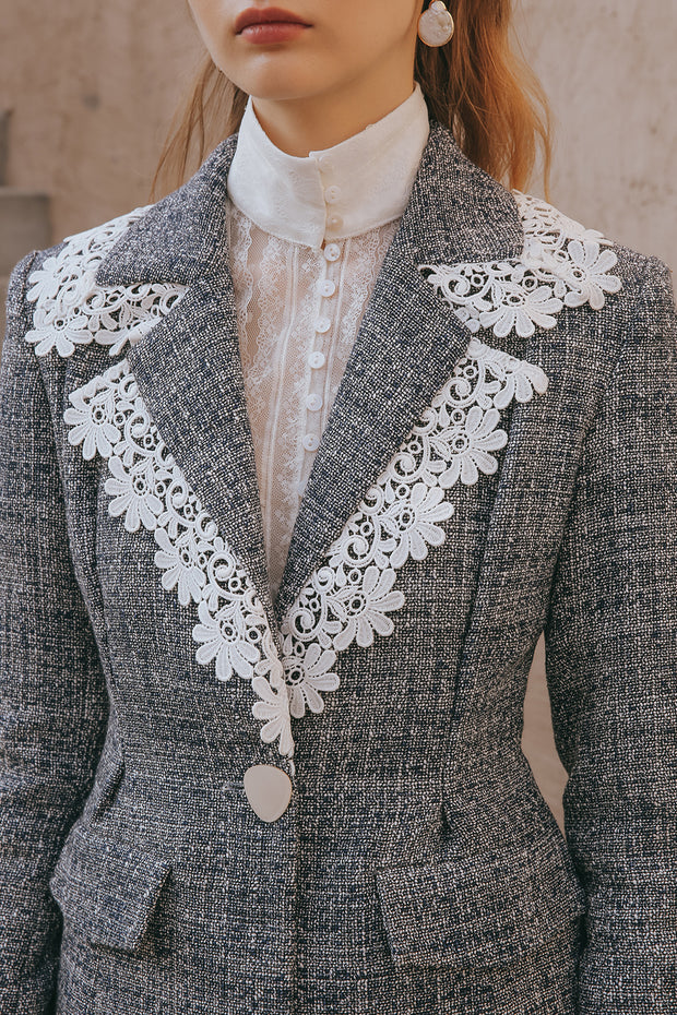 [Sincethen] Polseuneo lace trim collar Jacket