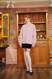 [LETTER FROM MOON] Letter Heart Embroidery Sweatshirts in Baby Pink