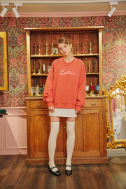 [LETTER FROM MOON] Letter Heart Embroidery Sweatshirts in Coral