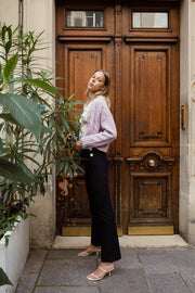 [LETQSTUDIO] Flared Pinstripe Trousers