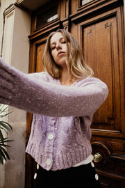 [LETQSTUDIO] Hand-embroidered Wool Cardigan_Lavender