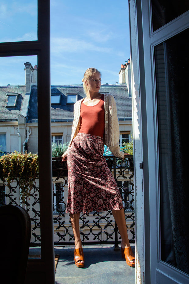[LETQSTUDIO] Ruched Midi Skirt_Rose Brown