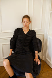 [LETQSTUDIO] Ruched Flare Dress_Black