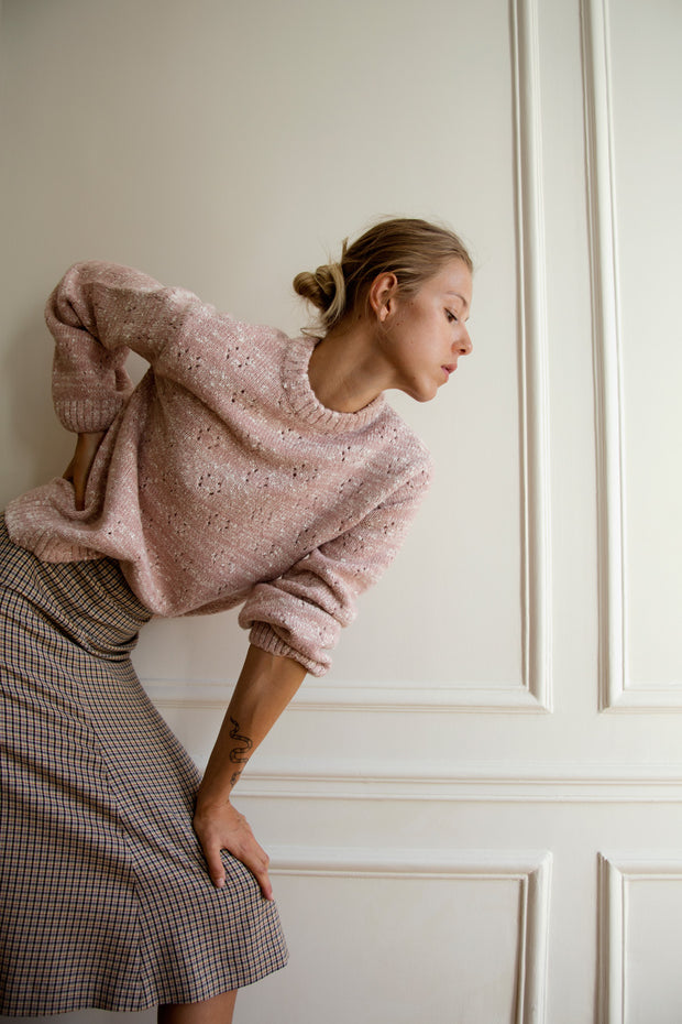 [LETQSTUDIO] Open-knit Wool Jumper_Pink