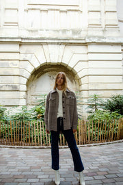 [LETQSTUDIO] Furry Shirt Jacket_Brown Check