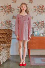 [LETTER FROM MOON] Pearl Button Gingham Dress in Red