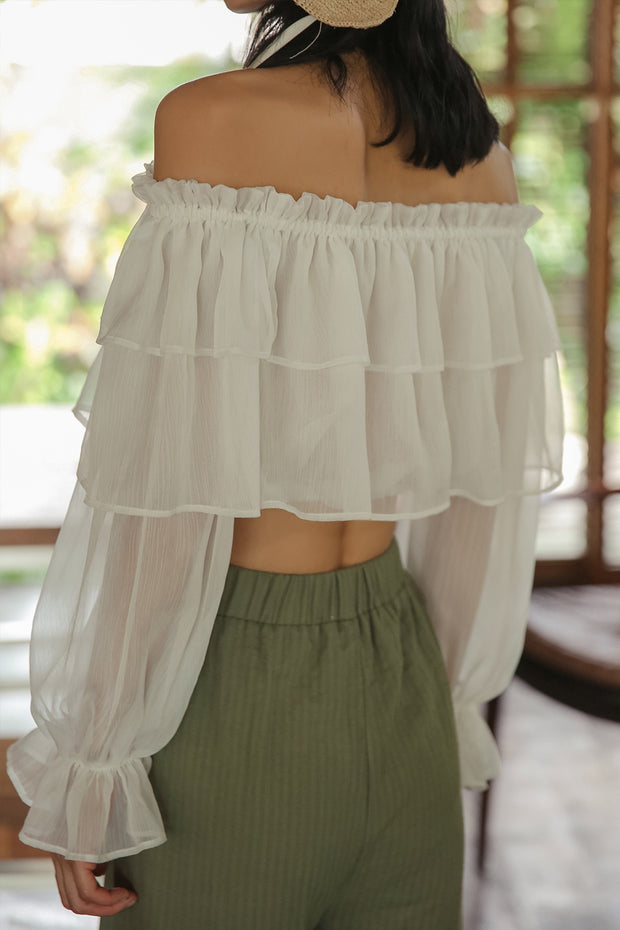 [Sincethen] Snow Flower See-thru Off shoulder Blouse