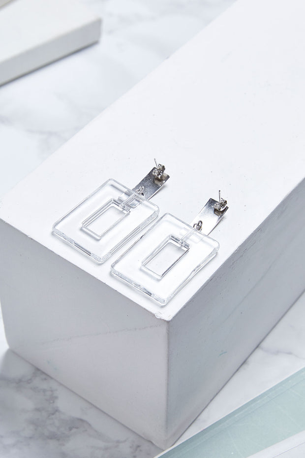 Clear Square Dangle Earrings