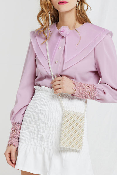 Aily Sheer Double-layer Collar Blouse