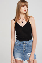 Aimee Lace Inset Ribbed Camisole