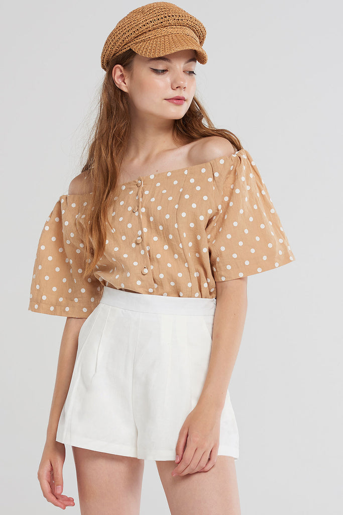 Alaia Dotted Off Shoulder Blouse-Beige