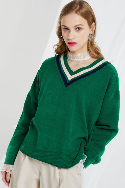 Alexis Striped Trim V-neck Jumper
