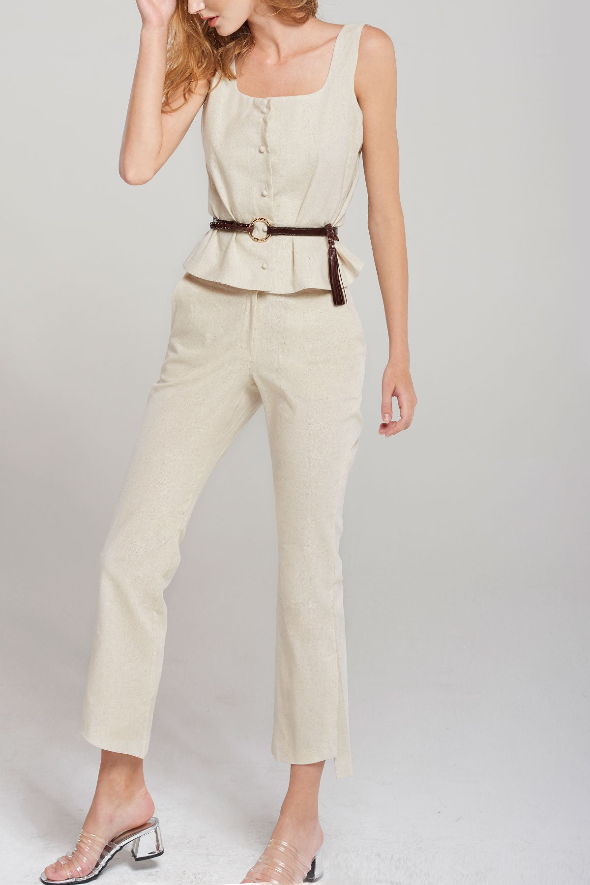 Alice Slit Pants-Ivory