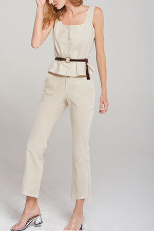 Alice Bootcut Slit Pants-Ivory