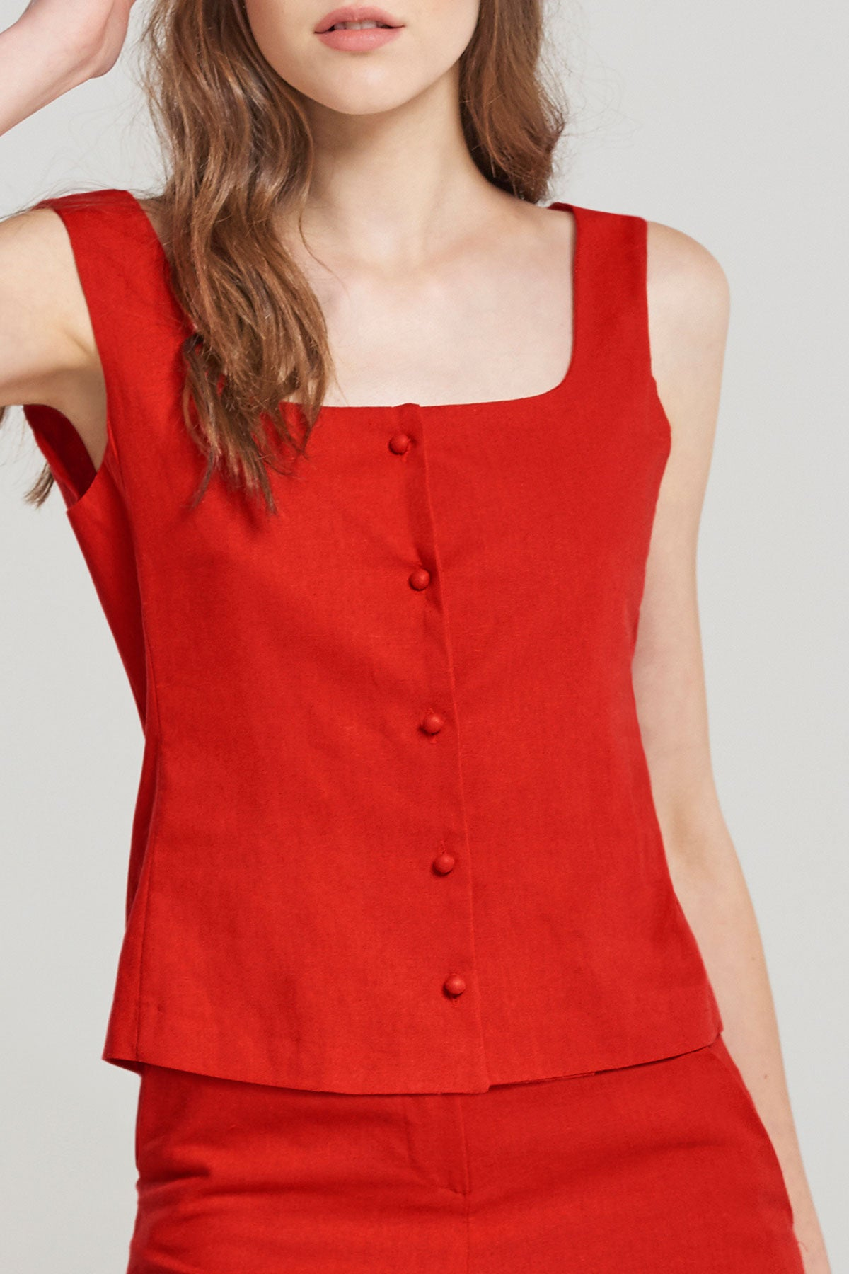 Alice Pea Button Strap Top-Red