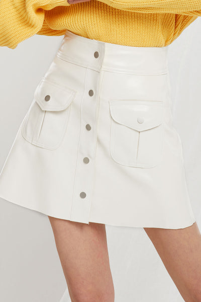 Alyssa Faux Leather Pocket Skirt