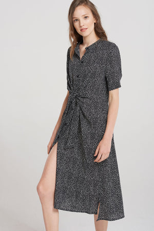 Amayah Dotted Maxi Dress-Black
