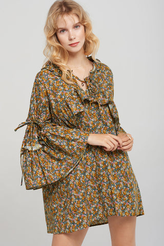 Angie Floral Print Dress-Yellow