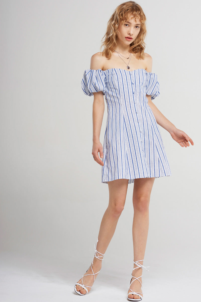 Ariyah Buttoned Stripe Off Dress-Blue