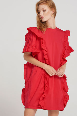Ashley Side Frill Puffy Dress-Red