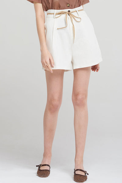 Avery Linen Shorts-White