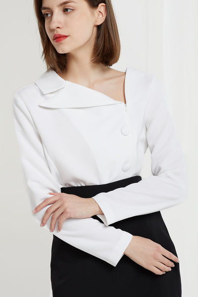 Azalea Asymmetric Collar Blouse