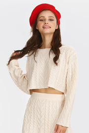 Claire Cable-Knit Cropped Sweater