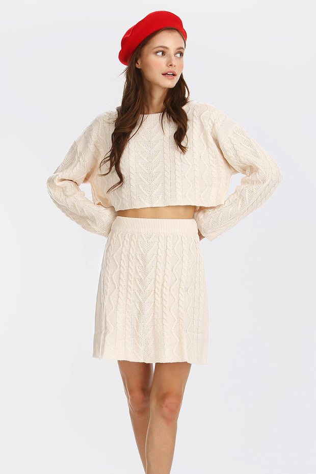 Claire Cable-Knit Mini Skirt