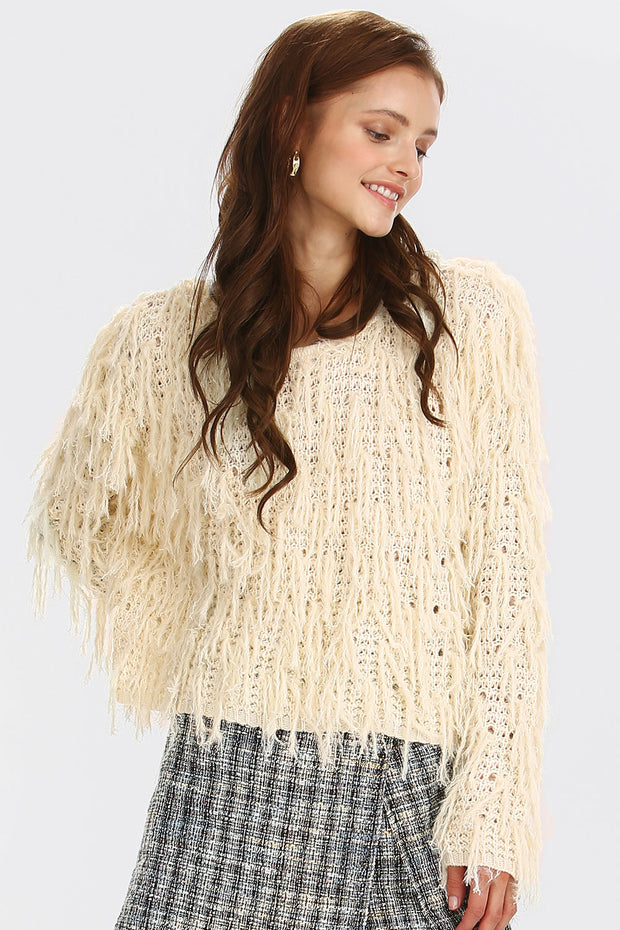 Mia Shaggy Textured Knit Jumper