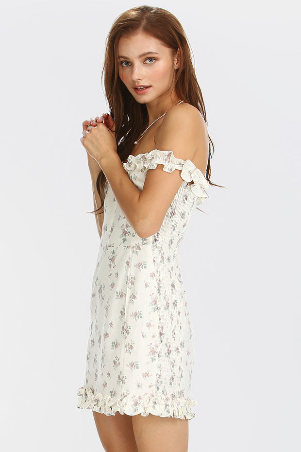 Vivian Floral Ruffle Trim Dress