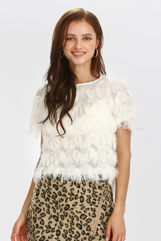 storets.com Emma Tier Fringe Crop Top