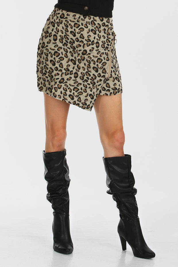 Hailey Asymmetrical Leopard Skirt