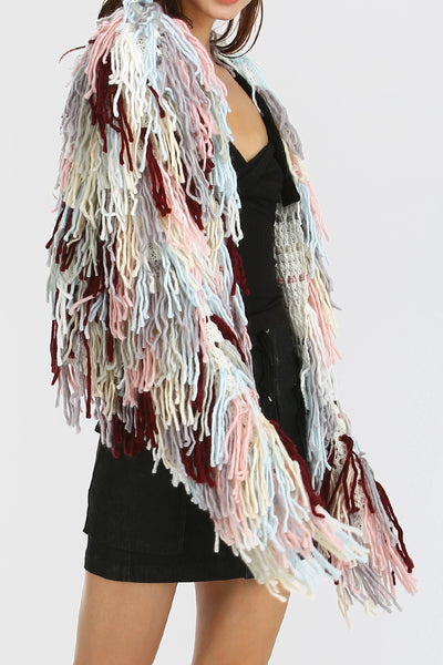 storets.com Remi Multi-Color Shaggy Knit Cardigan
