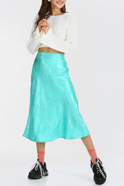 storets.com Emery Printed Satin Midi Skirt