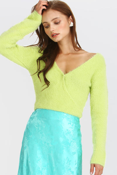 Bella Fuzzy Wrap Crop Top