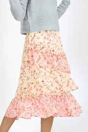 storets.com Sadie Floral Tiered Ruffle Skirt
