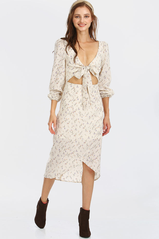 Nova Tie Front Cut-out Midi Dress