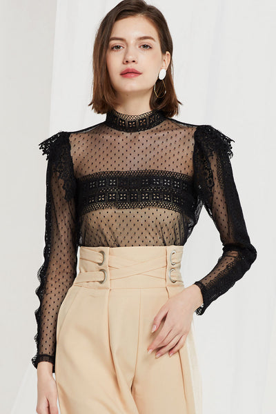 Betsy See Through Mesh Blouse