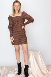 Celly Plaid Square Neck Short Dress