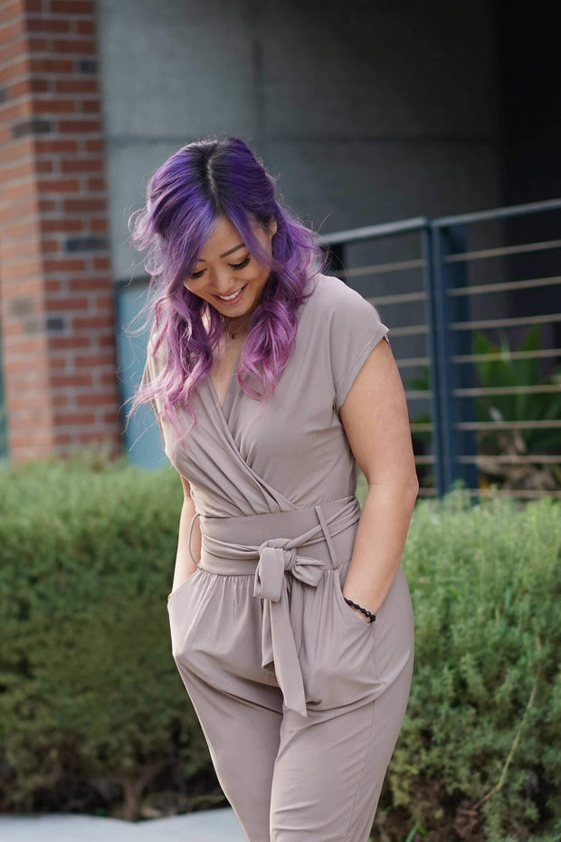 CYNTHIA LEU - ON-THE-GO STRETCHY TAUPE MAXI JUMPSUIT - Shop Double Icon