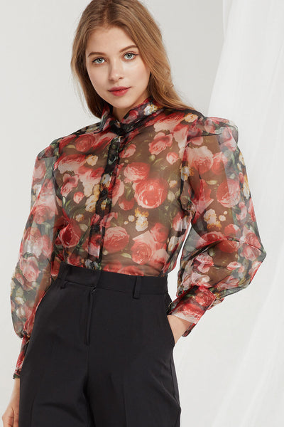 storets.com Callie Rose Printed Organza Blouse