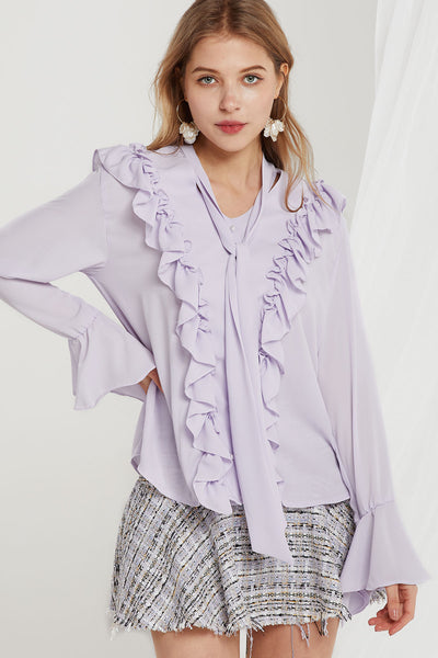 storets.com Candice Tie Collar Frilled Blouse-2 Colors