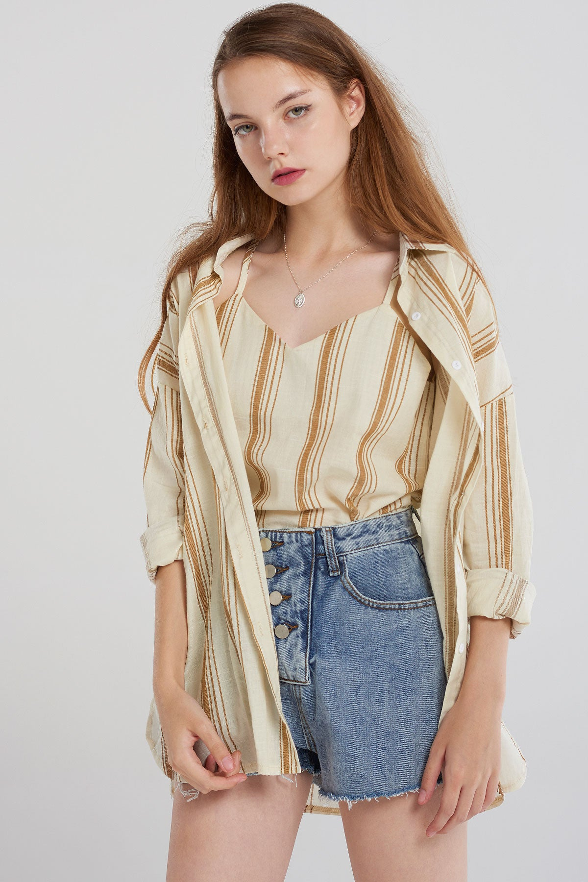 Carly Cami Top Shirt Set-Beige