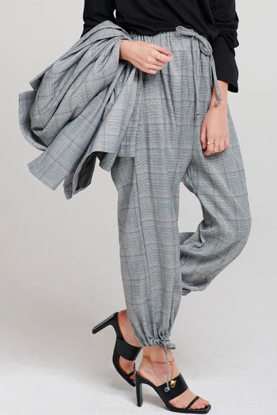 Carly Drawstring Plaid Pants