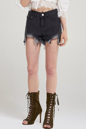 Casey Front Cut Ripped Denim Shorts-Gray