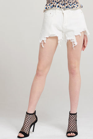 Casey Front Cut Ripped Denim Shorts