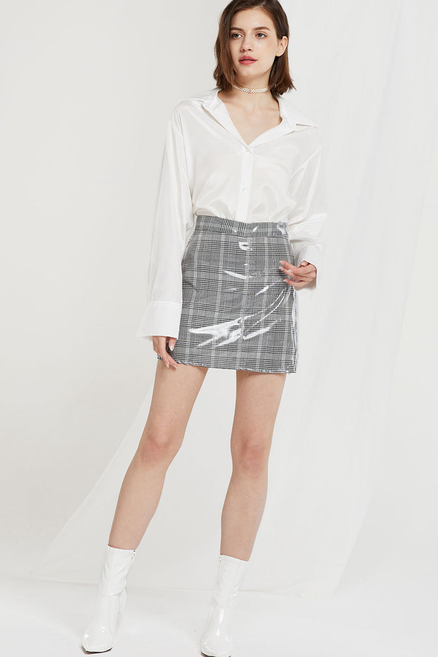 Celeste Coated Plaid Skort