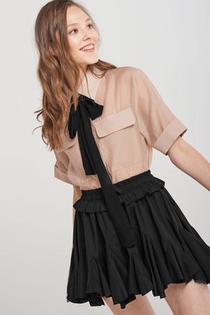 Celia Black Ribbon Short Sleeve Shirt - Beige