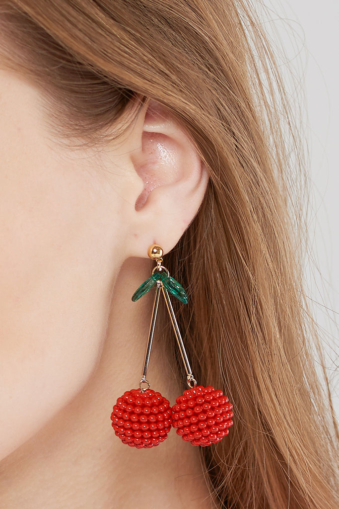 Cherry Beads Earrings-Red