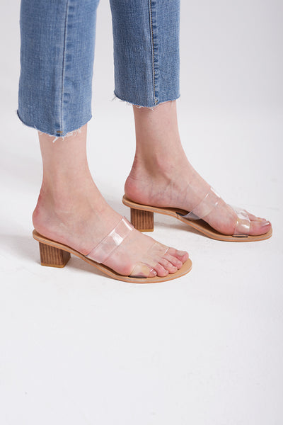 storets.com Clear Semi-wide Strap Sandals-Beige